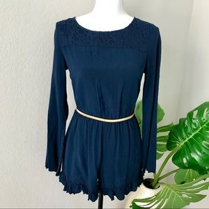 Altar'd State navy ruffle trim lace romper